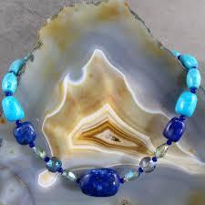 turquoise blue stone necklace images Turquoise lapis lazuli necklace unique blue gemstone necklace jpg