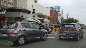 maruti renault renault captur test prototype spotted next to a maruti swift