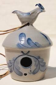 rowe pottery birdhouse vintage salt glazed stoneware bird house
