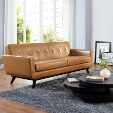 engage bonded leather sofa in tan lexmod