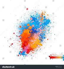 Orange Color by Abstract Vector Watercolor Palette Blue Orange Stock Vector