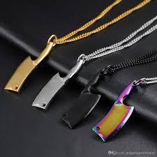 wholesale new interesting kitchen knife pendant black silver gold