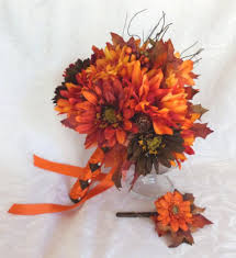 fall bridal bouquets fall colors bridal bouquet silk flower wedding bouquet shades of