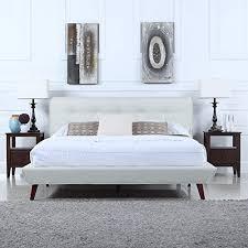 Low Profile Platform Bed Frame Mid Century Ivory Linen Low Profile Platform Bed Frame With Tufted