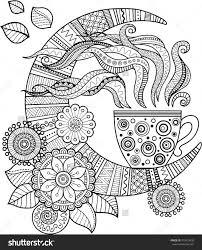 cup herbal tea good night coloring book adults