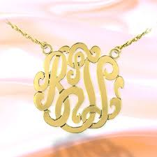 2 Inch Monogram Necklace Personalized Name Necklace Gold