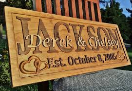 Personalized Wedding Plaque Personalized Family Last Name Sign Custom Carved Wood Plaque