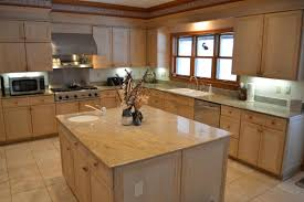 Kitchen Cabinet Features Pretty L Shape Kitchen Features Brown Color Birch Kitchen Cabinets