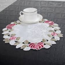 placemats for round table yazi 4pcs embroidered floral cutwork table placemats fabric round