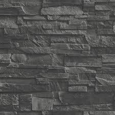rasch factory slate brick pattern stone faux effect wallpaper 475036