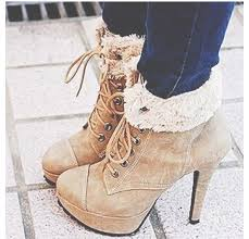 ugg heel boots sale lace up ankle bootie stiletto high heel shoes camel color with fur