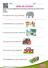 english identify adjectives worksheets grade 1
