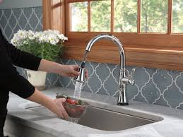 touch2o kitchen faucet delta cassidy pull touch single handle kitchen faucet with
