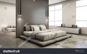 bedroom interior design minimal loft 3d stock illustration