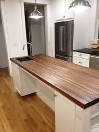 decorating cute dark wooden walnut butcher block countertop for