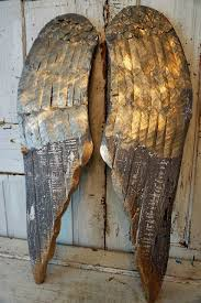 large wood angel wings wall hanging metal accented angel wing set