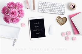 White Desk Accessories by Styled Stock Photography Flatlay With Ipad Raspberry Pink