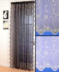 daisy lace voile net curtain panel black white cream scalloped
