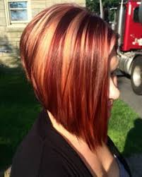 red brown long angled bobs angled bob with blonde highlights brown and red lowlights perfect
