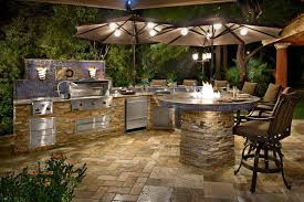 appliances beautiful blue outdoor kitchen design in backyard