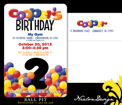 graphic design birthday invitations nealon design ball pit birthday invitation