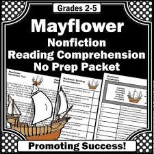 mayflower voyage thanksgiving reading comprehension worksheets tpt