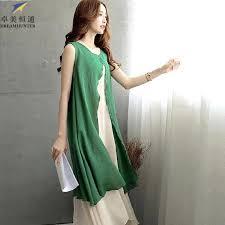 plus size womens cotton linen summer dress 2015 o neck sleeveless