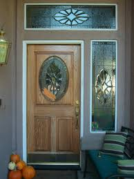 furniture exterior wooden door with stained glass panels for small