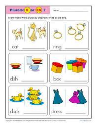 kindergarten worksheets pluran nouns add an s or es plural