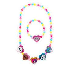ty beanie boos glitter heart shaped beaded necklace bracelet