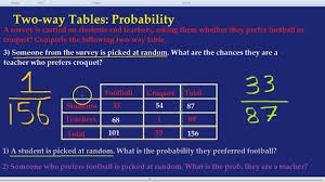 Two Way Frequency Table Worksheet Two Way Tables Probability Youtube
