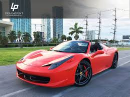 rent a 458 458 spider for rent in miami paramount luxury rentals
