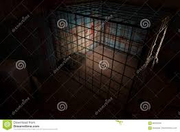 empty iron cage in basement with blood splattered wall stock photo