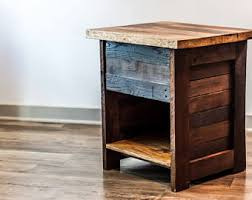 Nightstand With Shelf Wood Nightstand Etsy