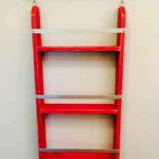 Industrial Pipe Bookcase Wood Ladder Shelf Distressed Ladder Shelf Chippy Paint Shelf Ru