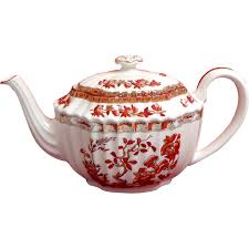 spode indian tree pattern teapot curved spout from