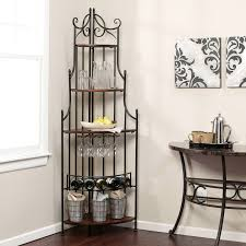 bakers rack with wine storage metal racks for classy home