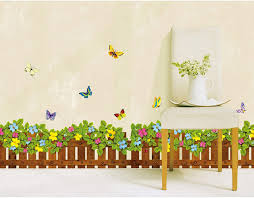 fence flowers and butterflies wall sticker vinilos paredes decals