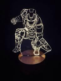 Iron Man Night Light Iron Man 3d Illusion Led Bulbing Table Lamp Night Light Wood Mood