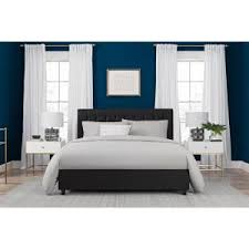 dhp emily black upholstered faux leather full size bed frame