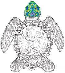 Coloriage adulte monde tortue imprimable page à colorier  Etsy
