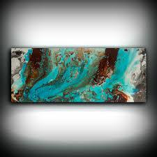 Blue And Brown Decor Aqua Print Blue And Brown Wall Art Decor Colourful Bohemian Art