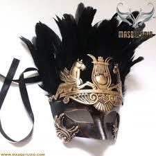 masquerade masks mens black gold mens masquerade mask feather gladiator thor