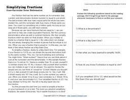 simplifying fractions reading worksheets spelling grammar