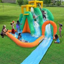 twin water slide park inflatable back yard outdoor bounce house