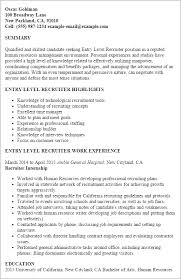 Example Resume For Internship by Professional Entry Level Recruiter Templates To Showcase Your