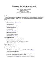 resume for maintenance technician