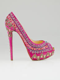 christian louboutin pink suede bollywood peep toe pumps size 9
