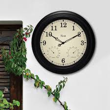 Patio Clock And Thermometer Sets by Acurite 15 In Combination Thermometer And Hygrometer Plastic Wall