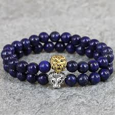 skull bracelet charms images Men 39 s beaded lapis lazuli energy lion head bracelet gem stone jpg